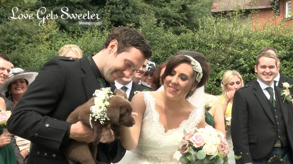 The Groom shows off his surprise to the bride for the wedding videographer and it's a chocolate Labrador wearing a cream rose flower collar outside their church in the Wirral