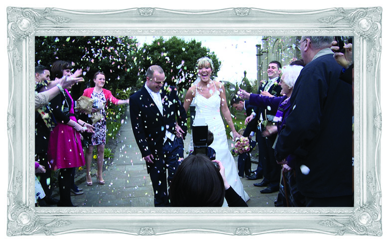 Bride and groom confetti wedding burscough ormskirk lancashire St Johns Church