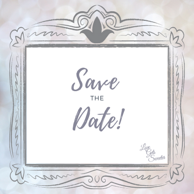 text saying save the date within a grey hand drawn frame