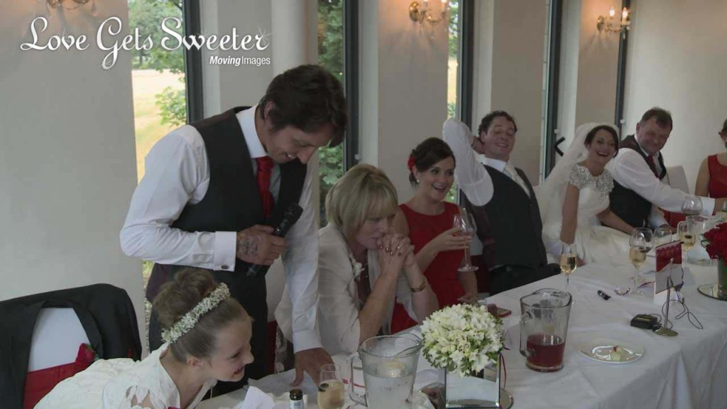 the whole top table are filmed laughing during a best man speech at a wedding at the west tower in Lancashire
