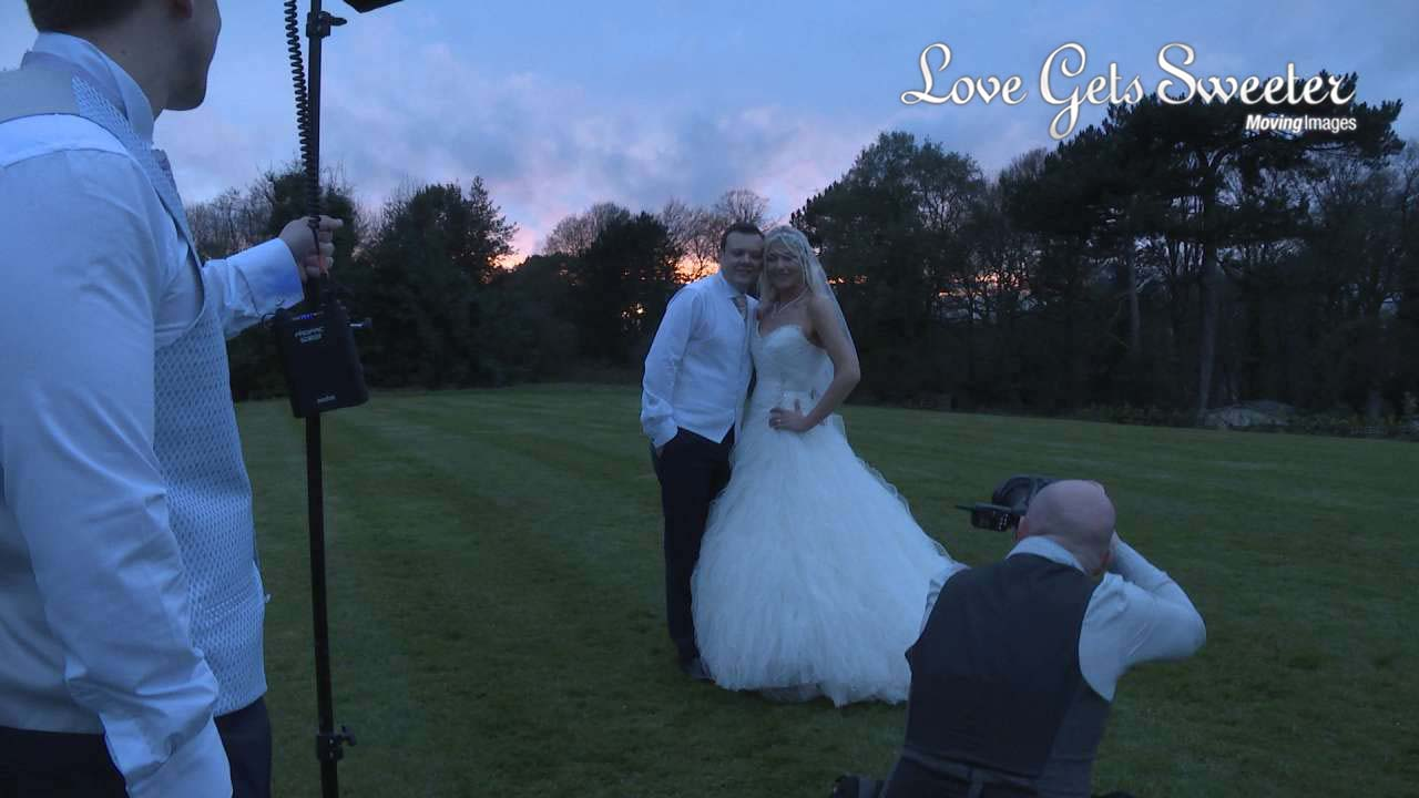sun set off camera flash set up with A W Photograhy at Hyde Bank Farm wedding venue Stockport, Cheshire