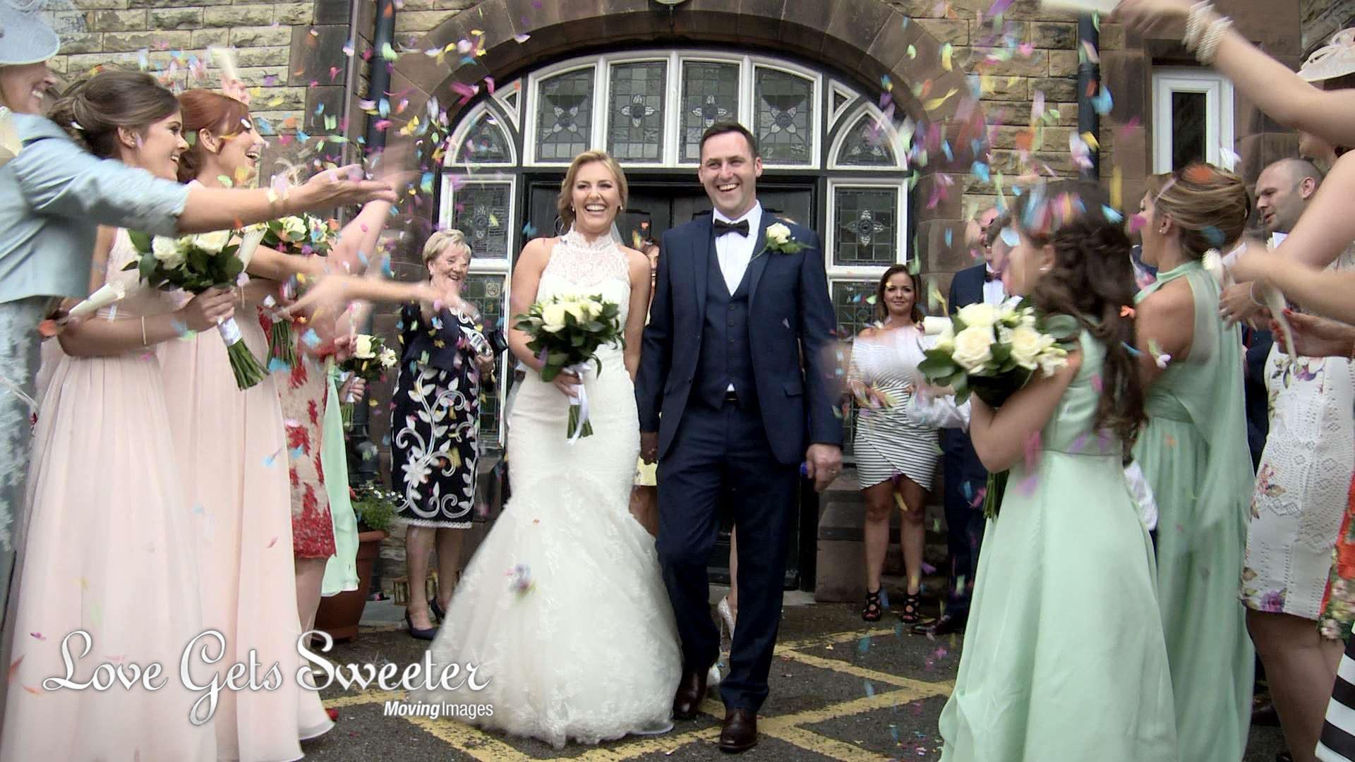 bride and groom laughing during colourful confetti shot in Crosby Liverpool