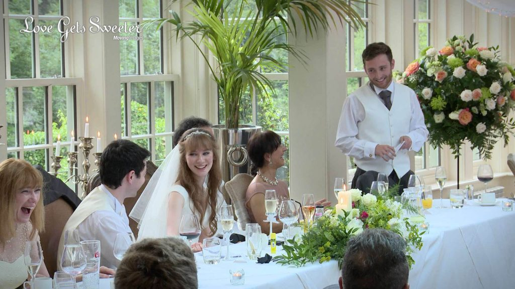 the best man tells a funny story about the groom during the wedding speeches at mitton hall