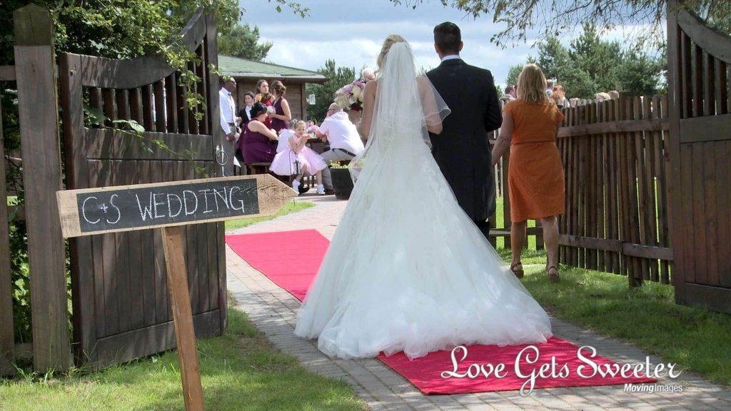 red carpet for wedding at Malkins Bank Golf Club wedding