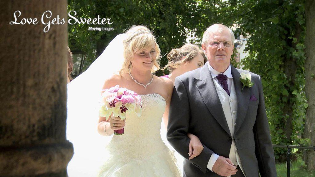 bride and grandad outside St Marys church Sandbach