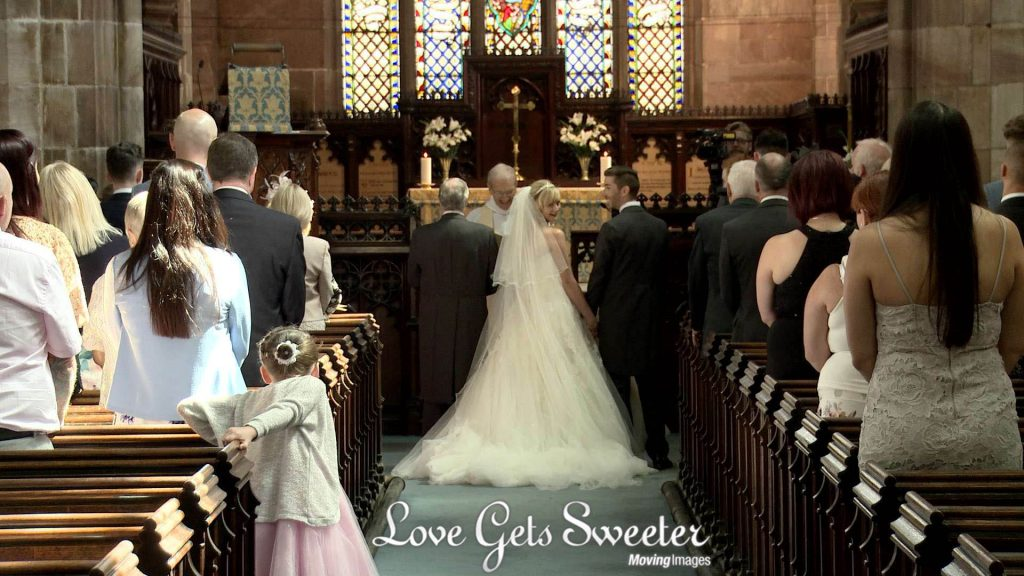 bride and groom during church ceremony at St Marys on video