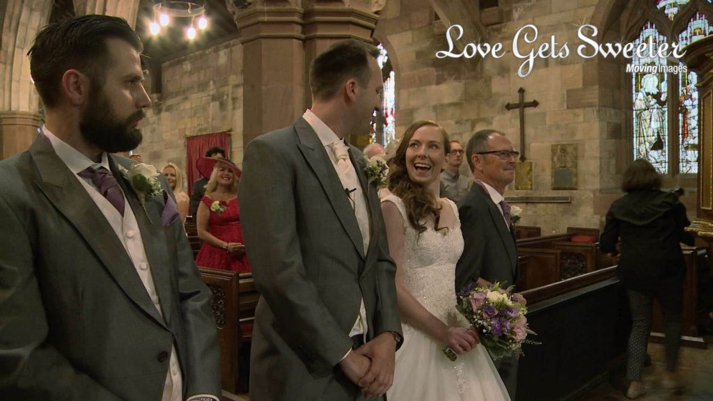 bride and groom see each other for the first time at the church ceremony before getting married