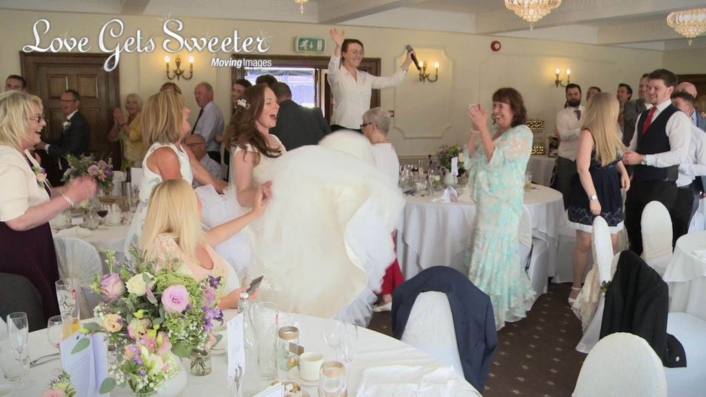conga and guests dancing after wedding breakfast at willington hall