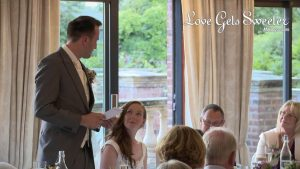 groom saying nice things about his bride during the wedding speeches at Willington hall