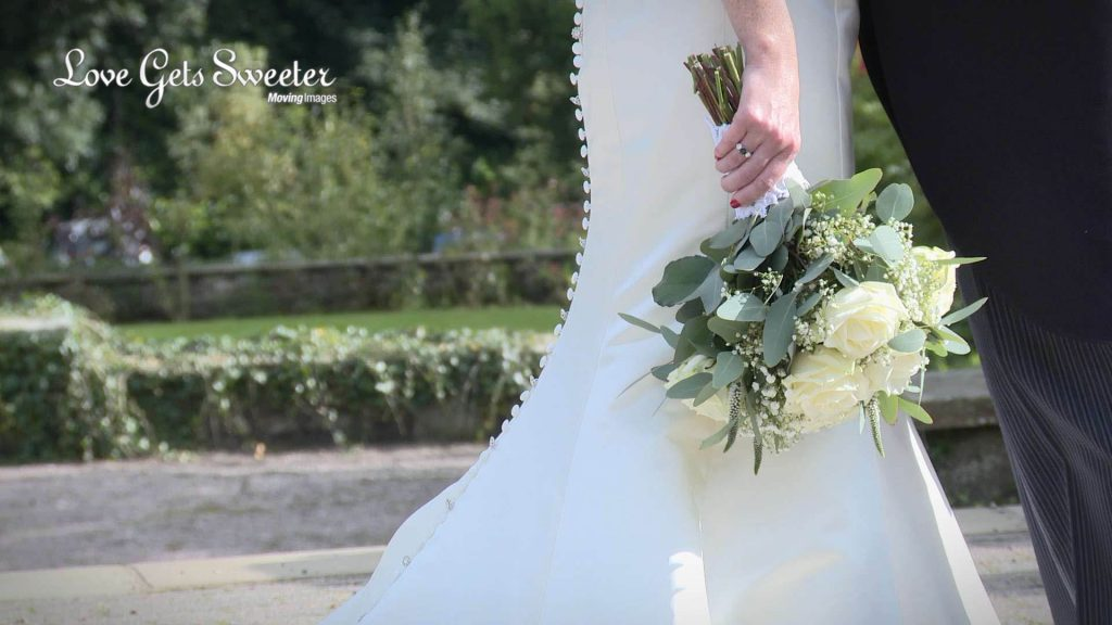 classic white flower bridal bouquet relaxed bride Eaves Hall