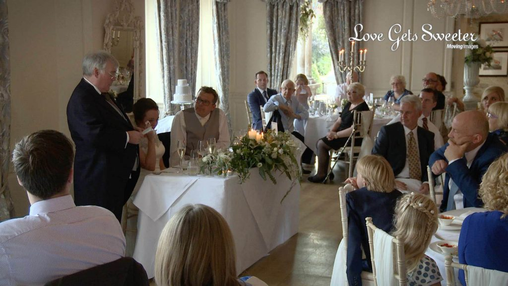wedding video of speeches during wedding at Eaves Hall in clitheroe