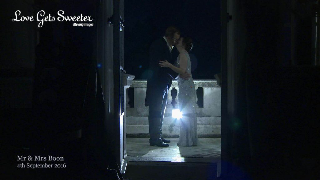 creative wedding video of bride and groom at night after wedding at Eaves Hall