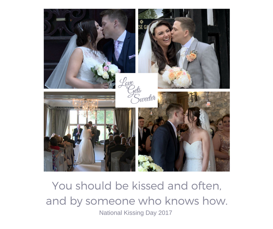 Bride and Grooms having a kiss on their wedding day celebrating national kissing day with love gets sweeter wedding videography quoting gone with the wind and celebrating weddings in Lancashire