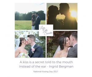 national kissing day post with lots of bride and grooms having a kiss on their wedding day caught on video by love gets sweeter in lancashire