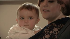 baby girl ready to get baptised at church in Rhyl for her own highlights video
