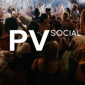 PV socials logo over the top of a dark and busy night club bar scene with people drinking and dancing