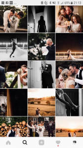 Instagram feed with thumbnails of wedding photography work from Sam Docker Photography