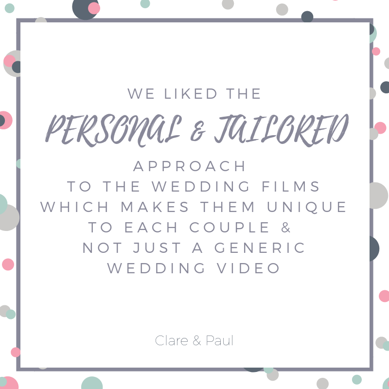 a quote from a couple about wedding videography packages and pricing
