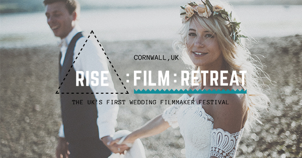 rise film makers retreat in cornwall advert poster with bride holding hands with a groom walking along a beach with a flower crown