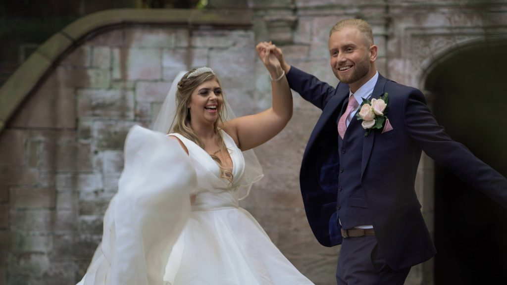 a bride and groom enjoy a pretend dance during a photo and video shoot at thornton manor