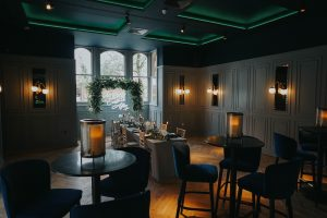 a wide photograph of the romantic library room at Albert's in Standish Lancashire