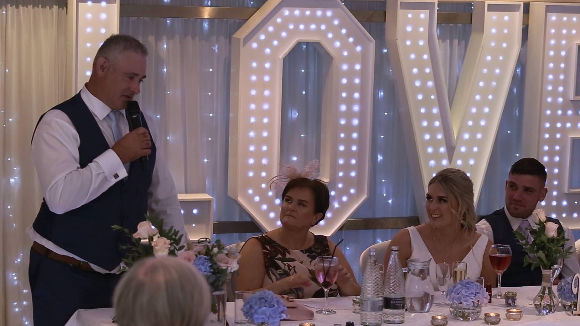 an emotional father of the bride speech at Briars Hall near Ormskirk