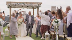 confetti during an outdoor wedding ceremony the Shankly Hotel