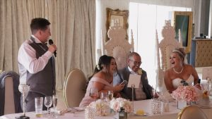 video still of a best man speech at the Shankly Hotel
