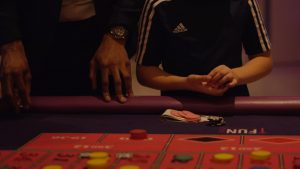 close up of hand at a wedding casino table
