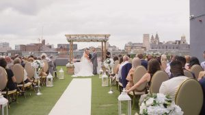 Video still of a wedding on the rooftop at the Shankly Hotel Liverpool