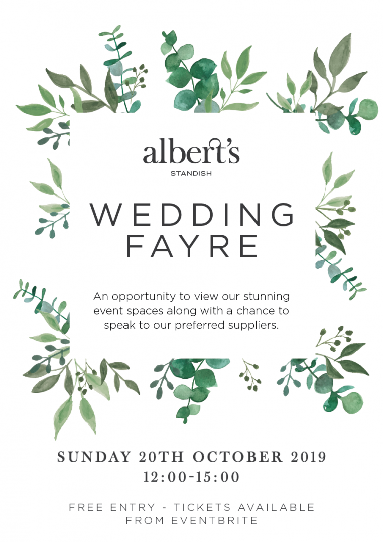 wedding fayre fair poster for albert's in standish Lancashire