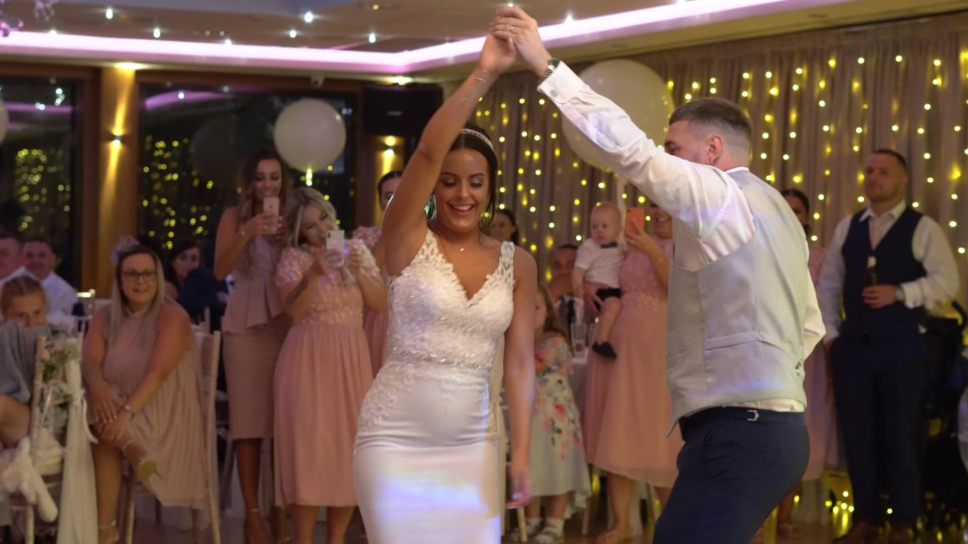 bride and groom enjoy their first dance at Modderhall Oaks