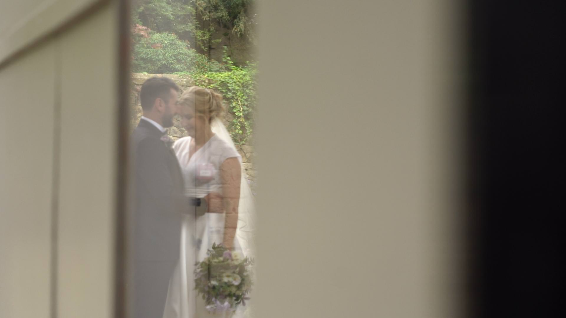 a video reflection in the barn door at Wyresdale Park