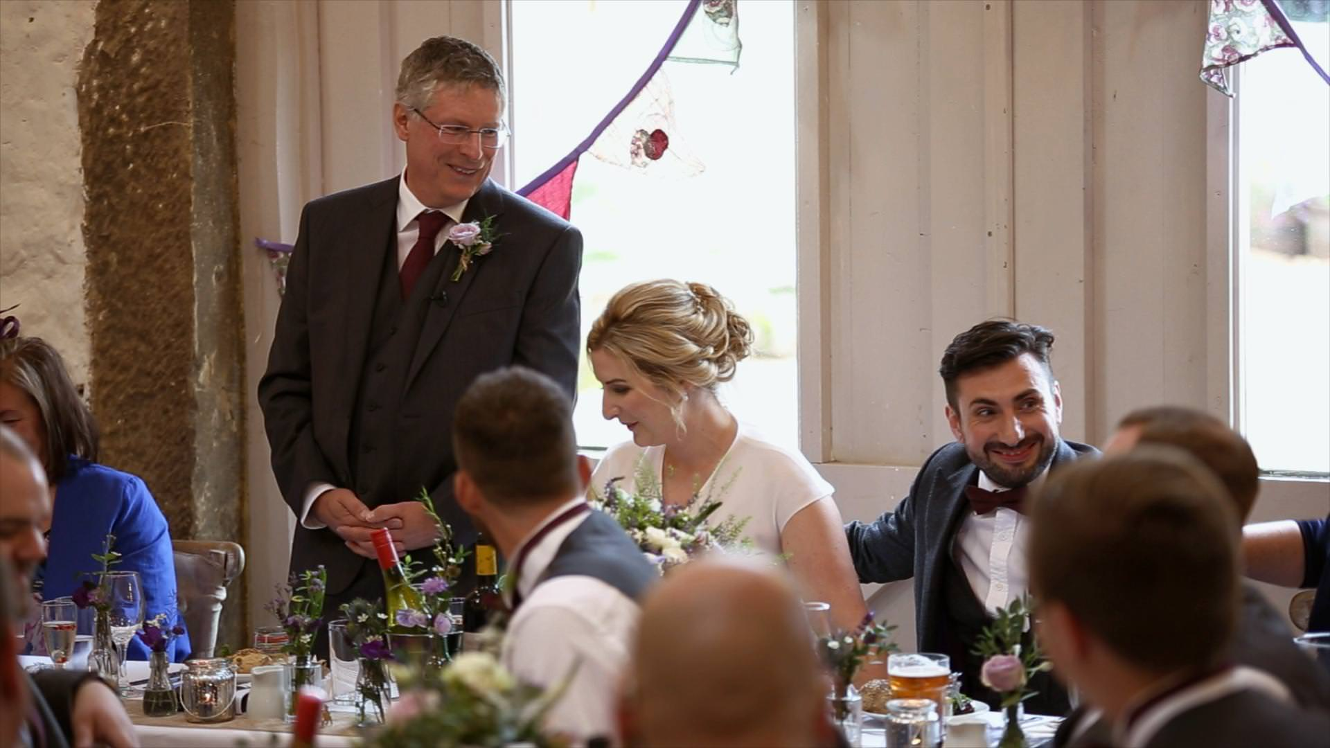 groom looks shocked during father of the bride speech at Wyresdale