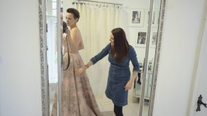 clare suzanne bridal shows off dress to bride to be
