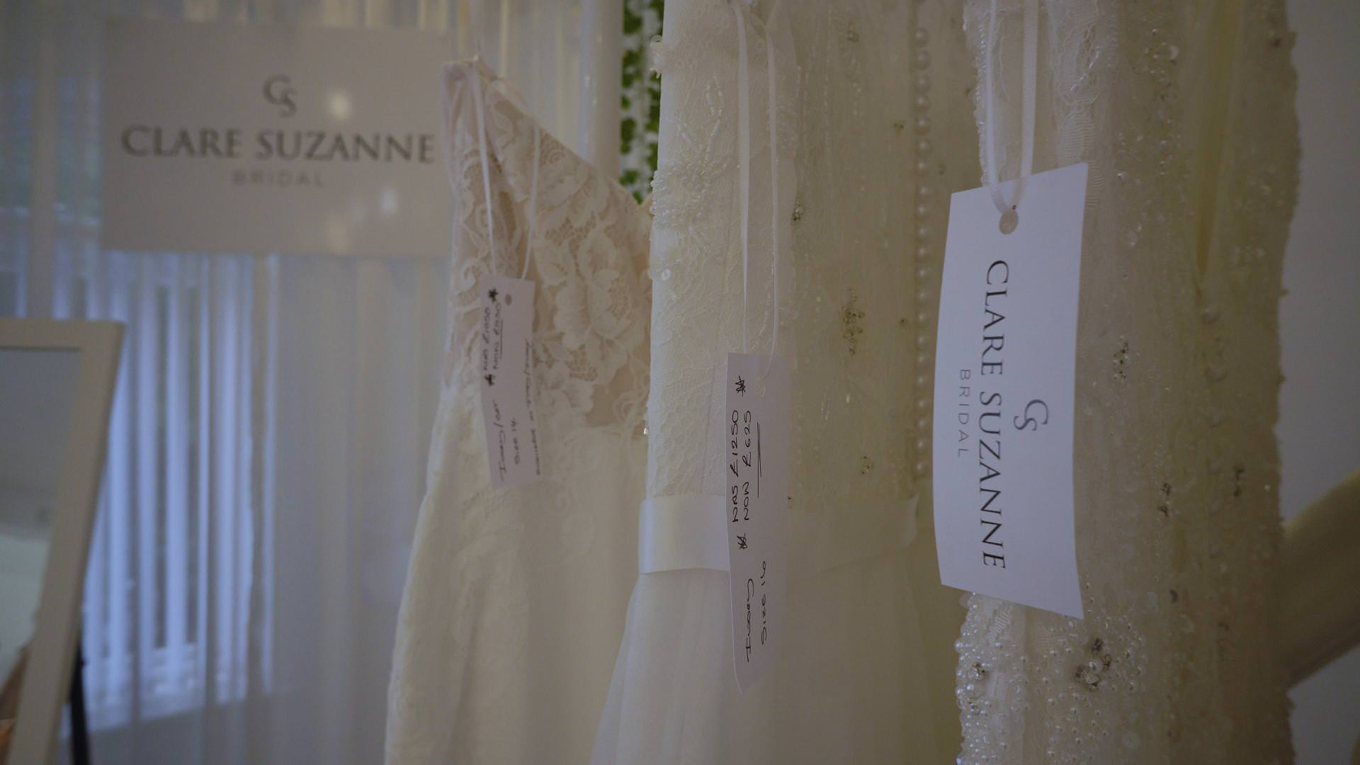 close up video still of clare suzanne bridal dresses