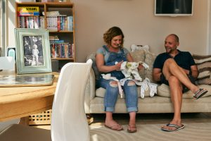 couple at home during maternity photoshoot