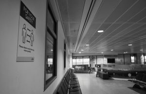 empty terminal at manchester airport during coronavirus