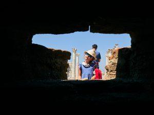 creative photo of girl exploring historical site