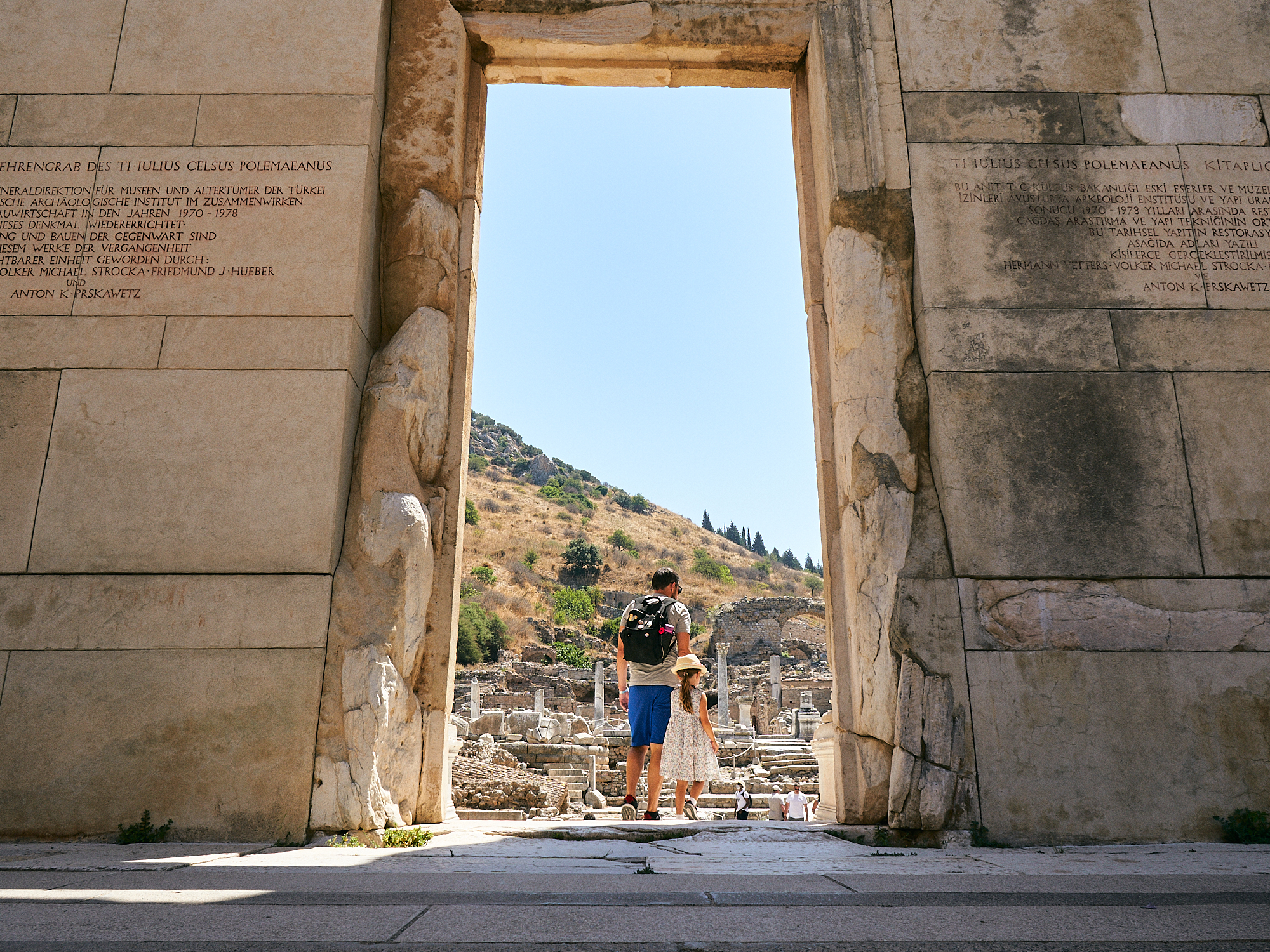 family explore Ephesus library during coronavirus holiday