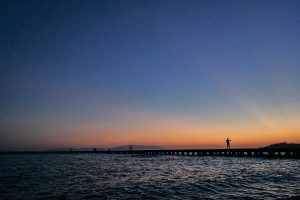 beautiful sunset across the sea in Kusadasi