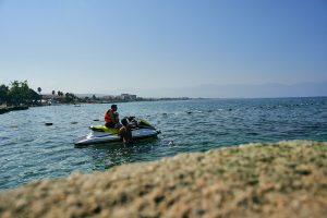 dad and daughter on jet ski