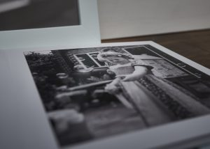 close up of black and white photo in family album