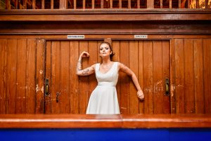 bride posing at The Smiths Room Salford