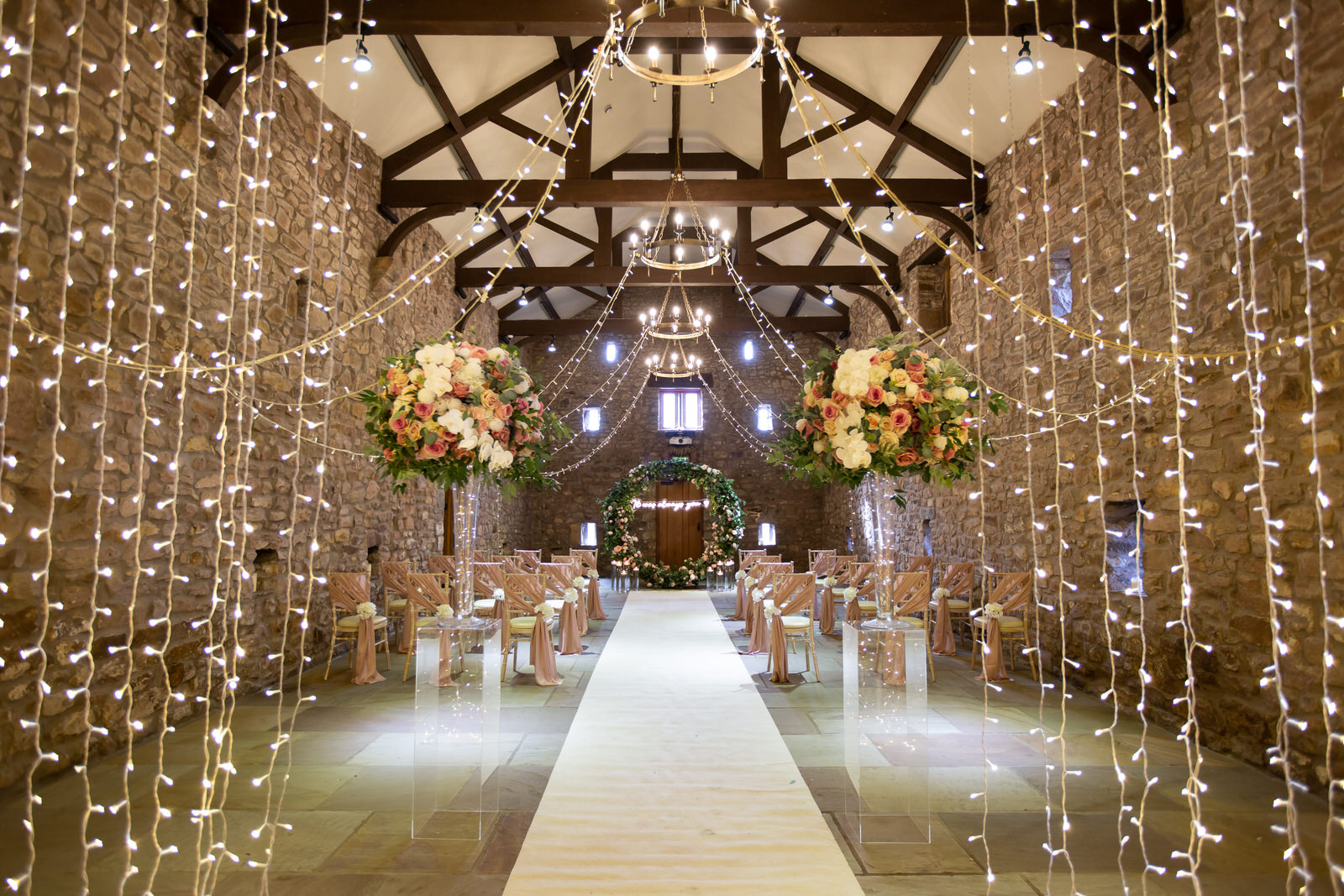 fairy lights inside Browsholme Tithe Barn Lancashire