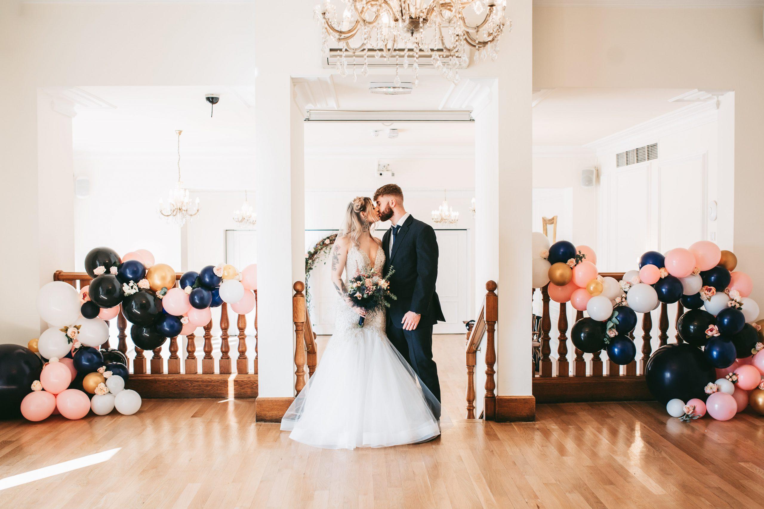 wide photo of west tower wedding lancashire