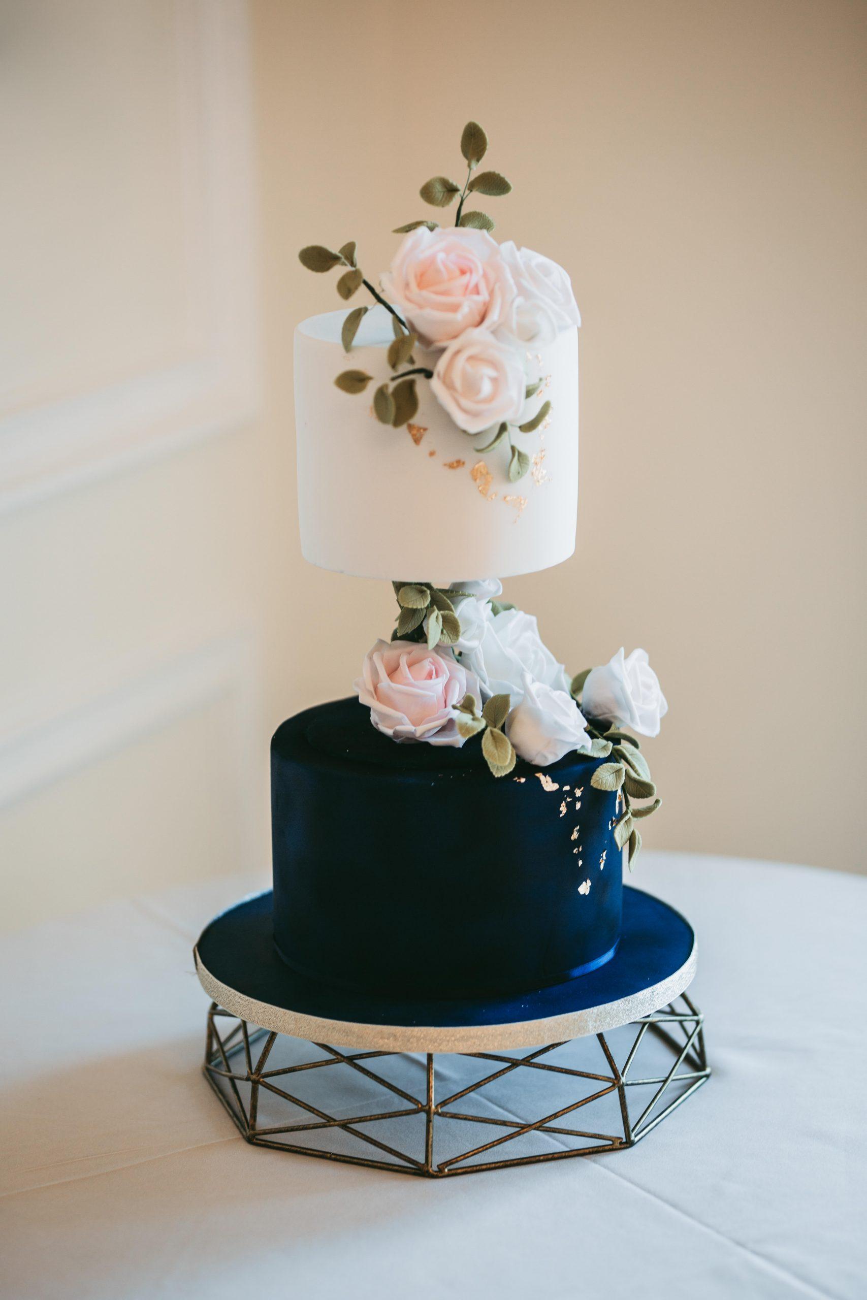 navy white and pink elizabeth anna cake design cake