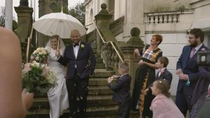 confetti for wedding video outside southport Town hall