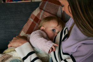 natural breastfeeding moment at home in Lancashire