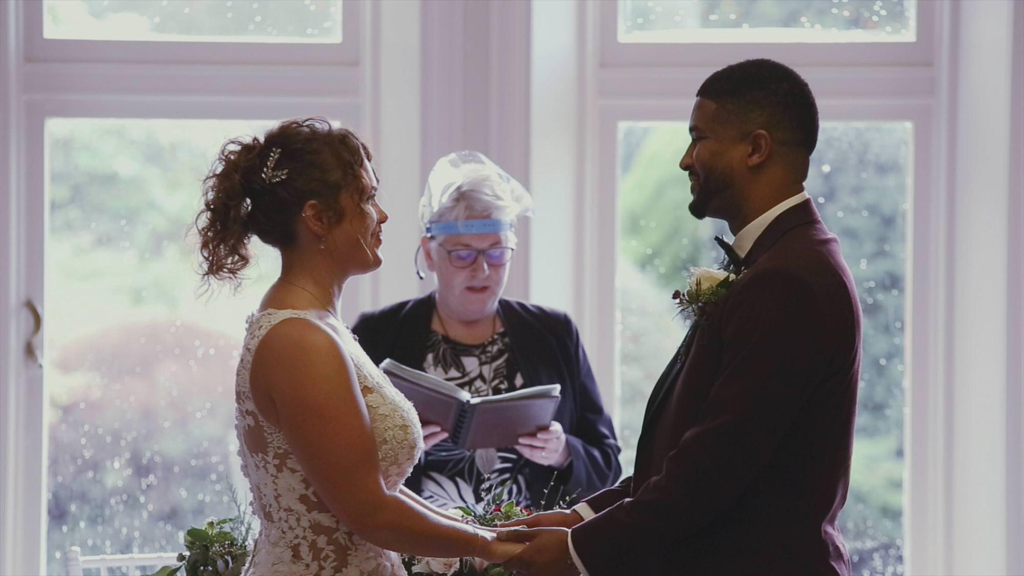 bride and groom say vows during Preston Covid ceremony